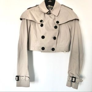 Burberry London cropped cape trench jacket coat s